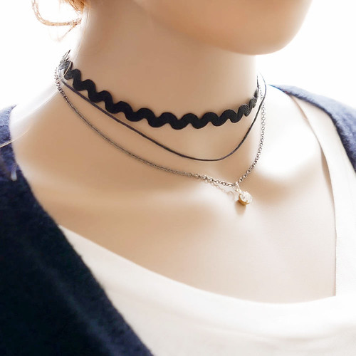 DOUBLE LAYER CHOKER THIN SUEDE LOOK NECKLACE BLACK MULTI LAYER CHOKER PUNK GOTH