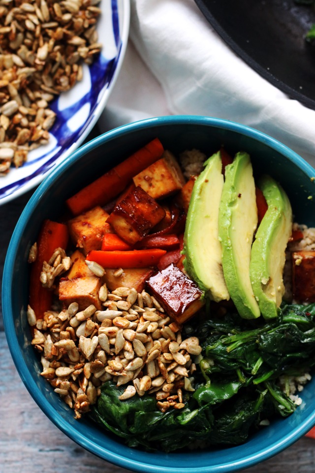 Sweet and Spicy Roasted Vegetable and Tofu Hippie Bowl