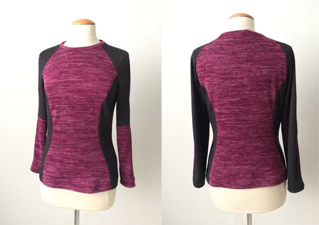 Burda maroon color block top