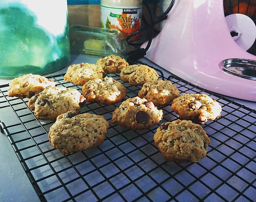 "Just whipping up a batch of ""lactation cookies"" this afternoon. Delicious. 🍪🍪🍪"