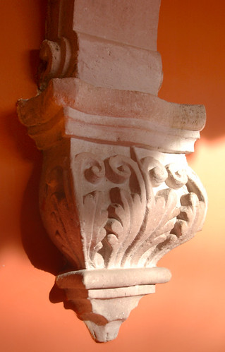 Terracotta walls with a finial in Aguascalientes, Mexico