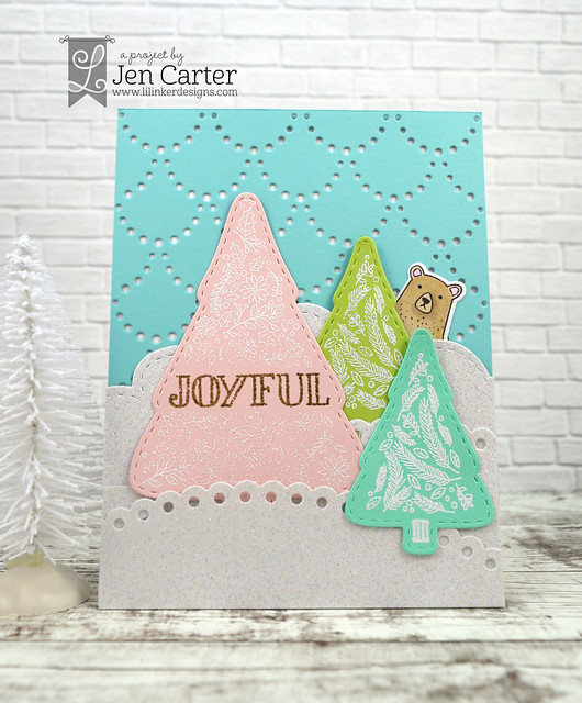 Jen Carter Christmas Flower Greetings Stitched Tree Rustic 2 wm