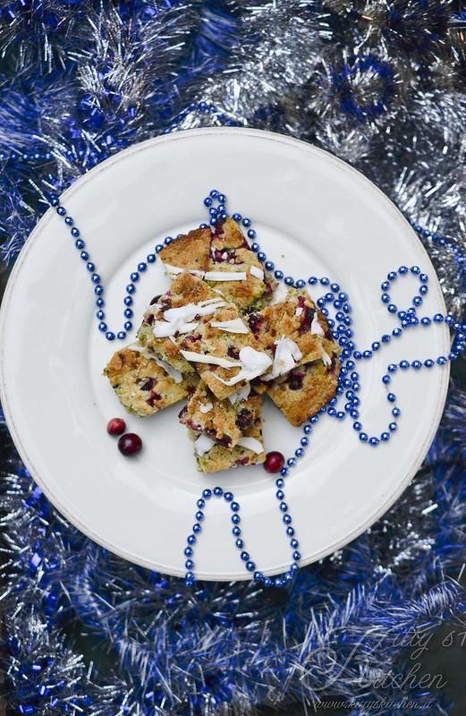Blondies festivi pistacchi e cranberries