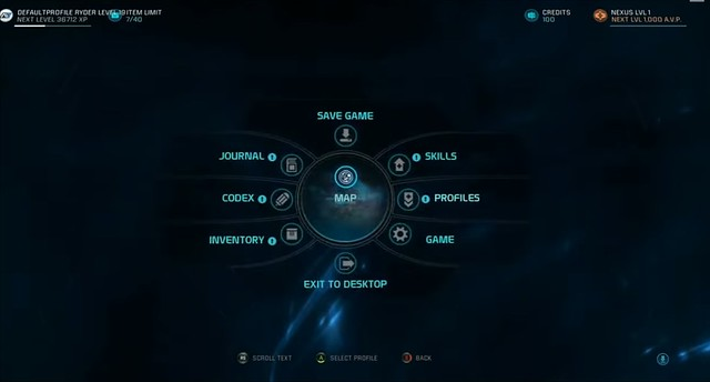 Mass Effect: Options de Menu Andromeda