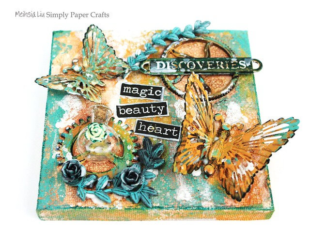 Mehsia Liu Simply paper Crafts Mixed Media square canvas Simon Says Stamp Prima Flowers