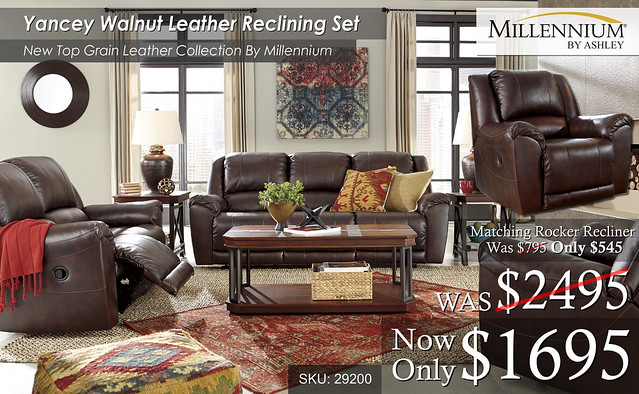Yancey Walnut Leather Reclining Set