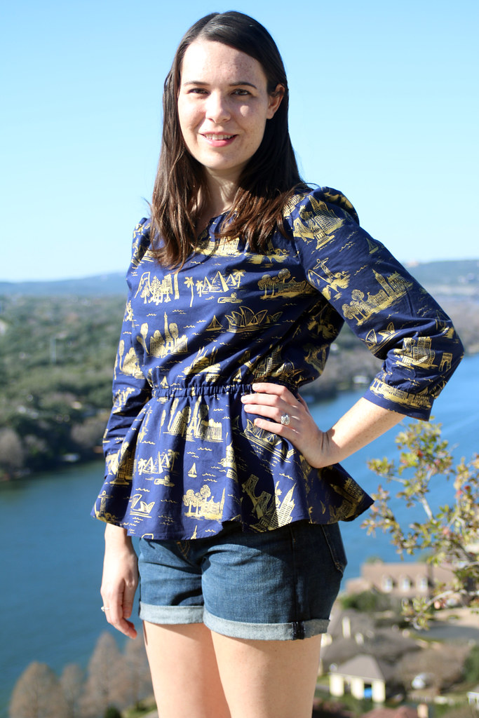 Burda Book Blouse - Travel Print