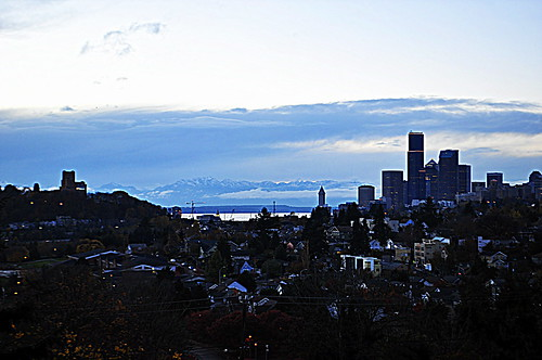 Seattle Blue Hour Panorama From Mount Baker Ridge Viewpoint
