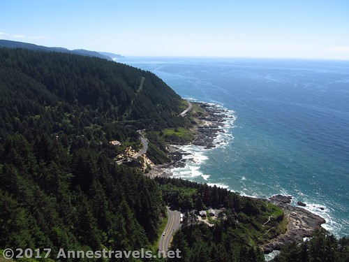 Views from the first viewpoint atop the headland at Cape Perpetua, Oregon