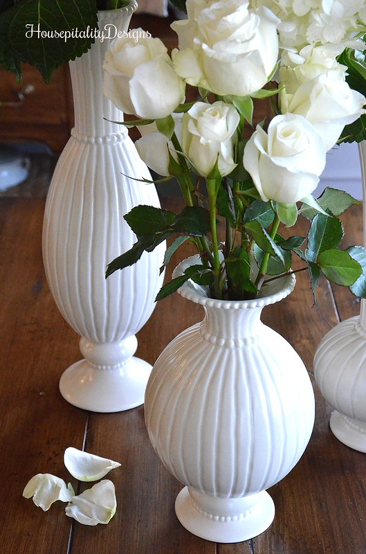 White Roses-White Vases-Housepitality Designs