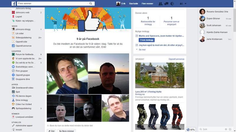 ni år på facebook