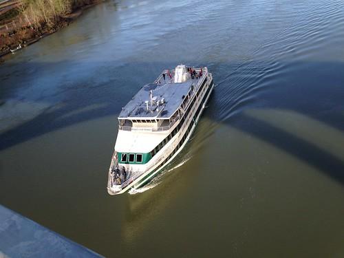 The Portland Spirit sails under the new Sellwood bridge