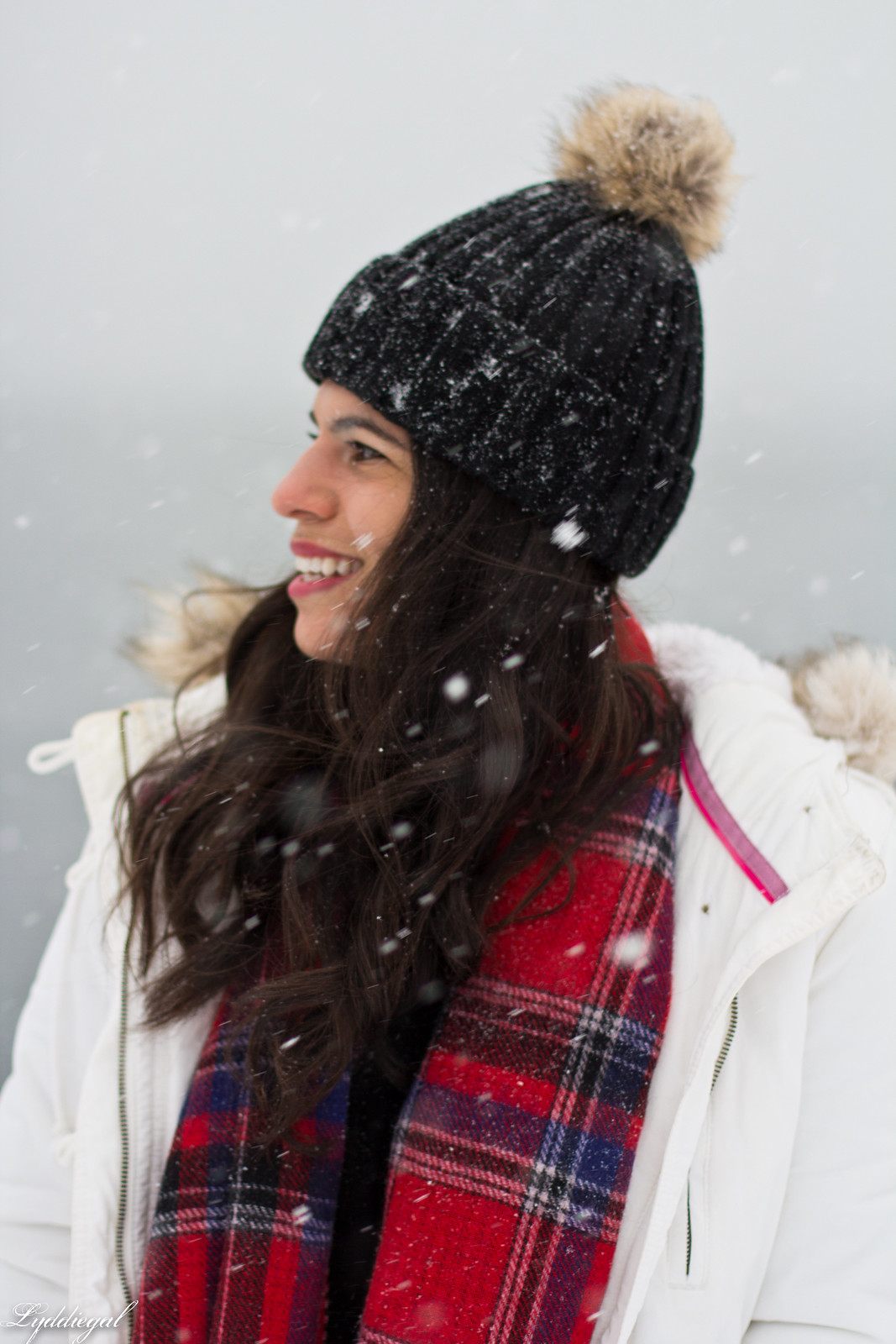 snow outfit, white parka, plaid scarf, pom hat-9.jpg