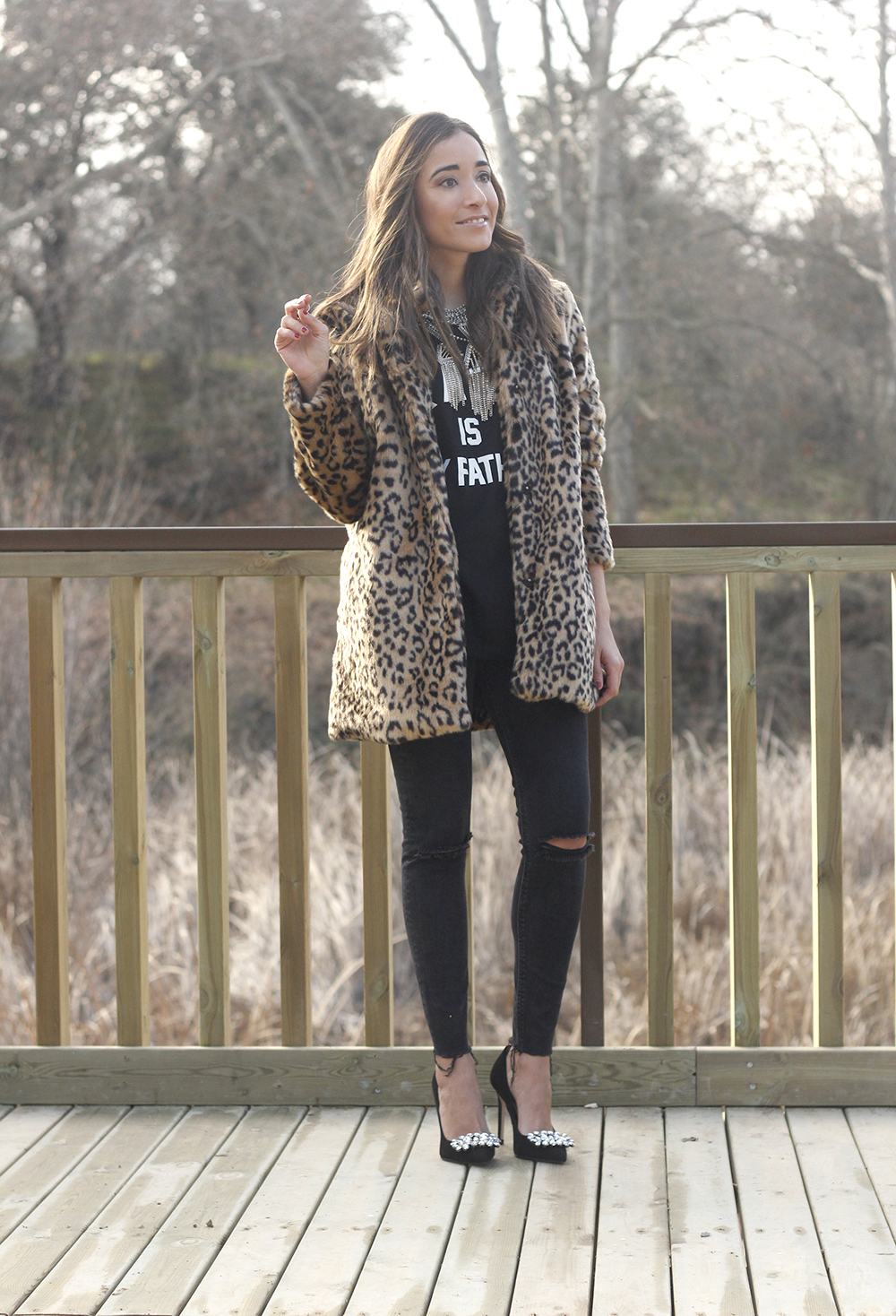 leopard coat black jeans jewel heels outfit style new year fashion06