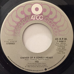 YES:OWNER OF A LONELY HEART(LABEL SIDE-A)