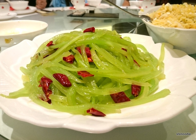 Sauteed lettuce shoots with dried chili