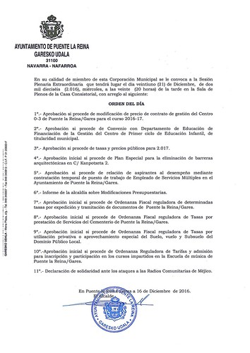 2016-12-21. CONVOCATORIA PLENO EXTRAORDINARIO