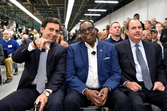 Mark Fields and Jimmy Settles at Flat Rock Assembly Plant