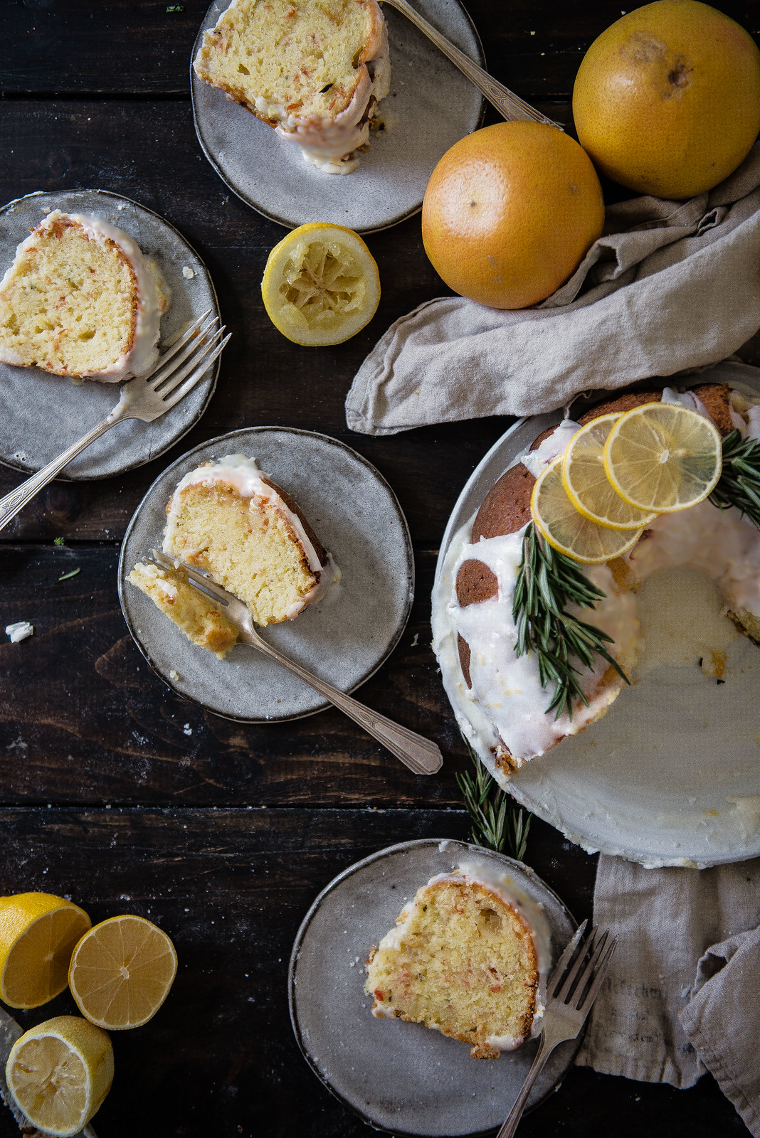 rosemary citrus bundt cake | two red bowls