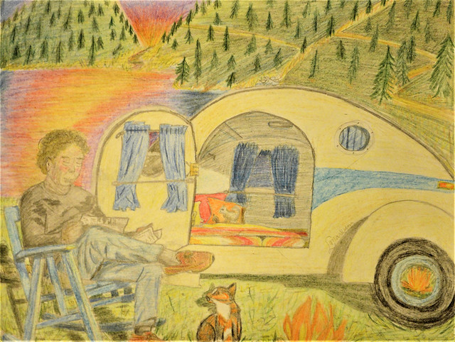 Teardrop Camping in Colored Pencil