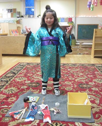 peaceful in her kimono