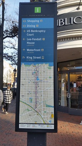 Map panel, Alexandria wayfinding sigage system, northwest corner of Washington Boulevard and King Street