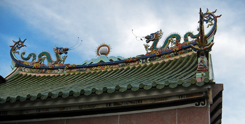 Dragons on the roof line of a temple in Penang, Malaysia