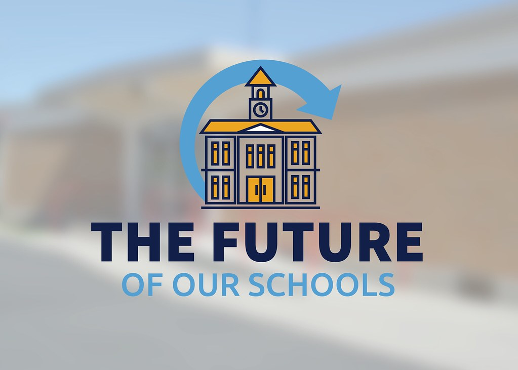 Vista Elementary with overlay school logo and text 'The Future of Our Schools'