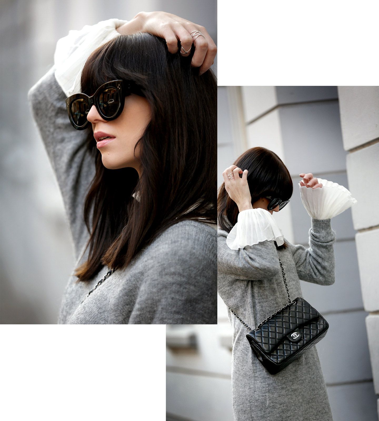 outfit h&m grey maxi knit dress bell sleeves hippie chanel 2.55 classic luxury bag black silver hardware sacha boots winter isabel marant étoile ootd fashionblogger ricarda schernus cats & dogs 5