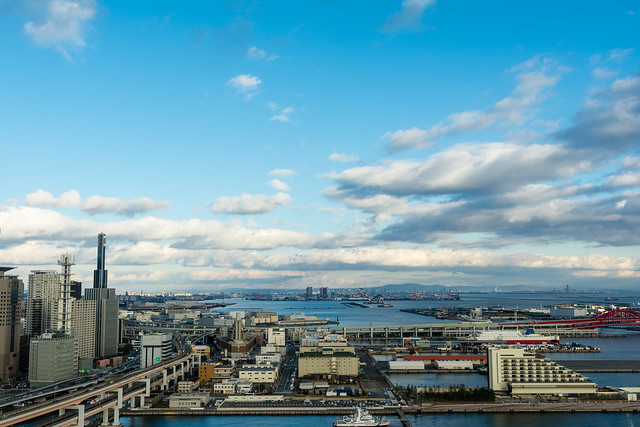 ポートタワー展望台5階から東を見た写真