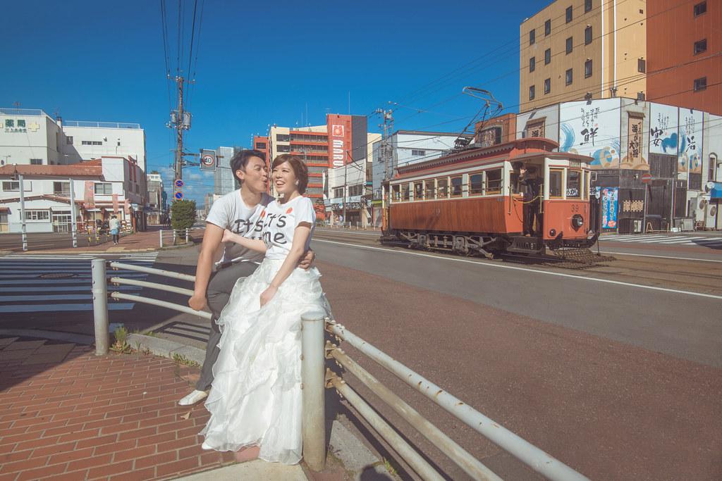 北海道海外婚紗,函館婚紗,函館電車婚紗