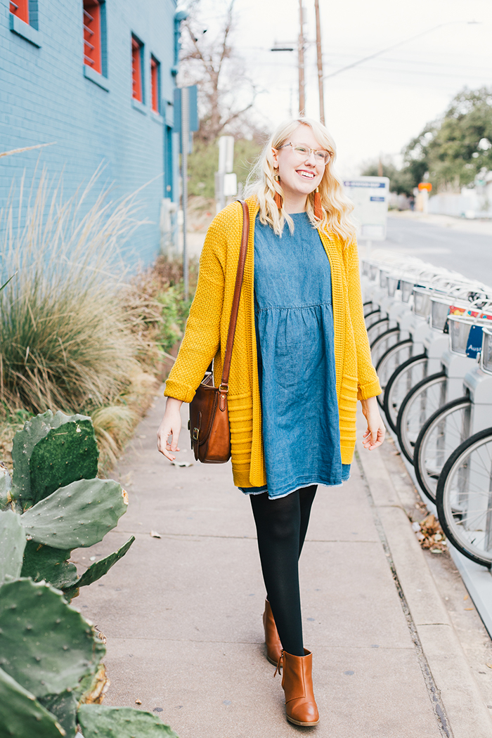 austin style blogger asos smock dress yellow sweater15