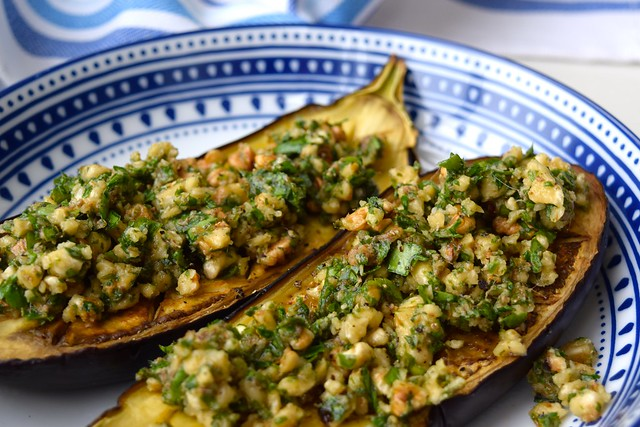 Lunchtime Roast Aubergine with Anchovies, Walnuts and Parsley | www.rachelphipps.com @rachelphipps