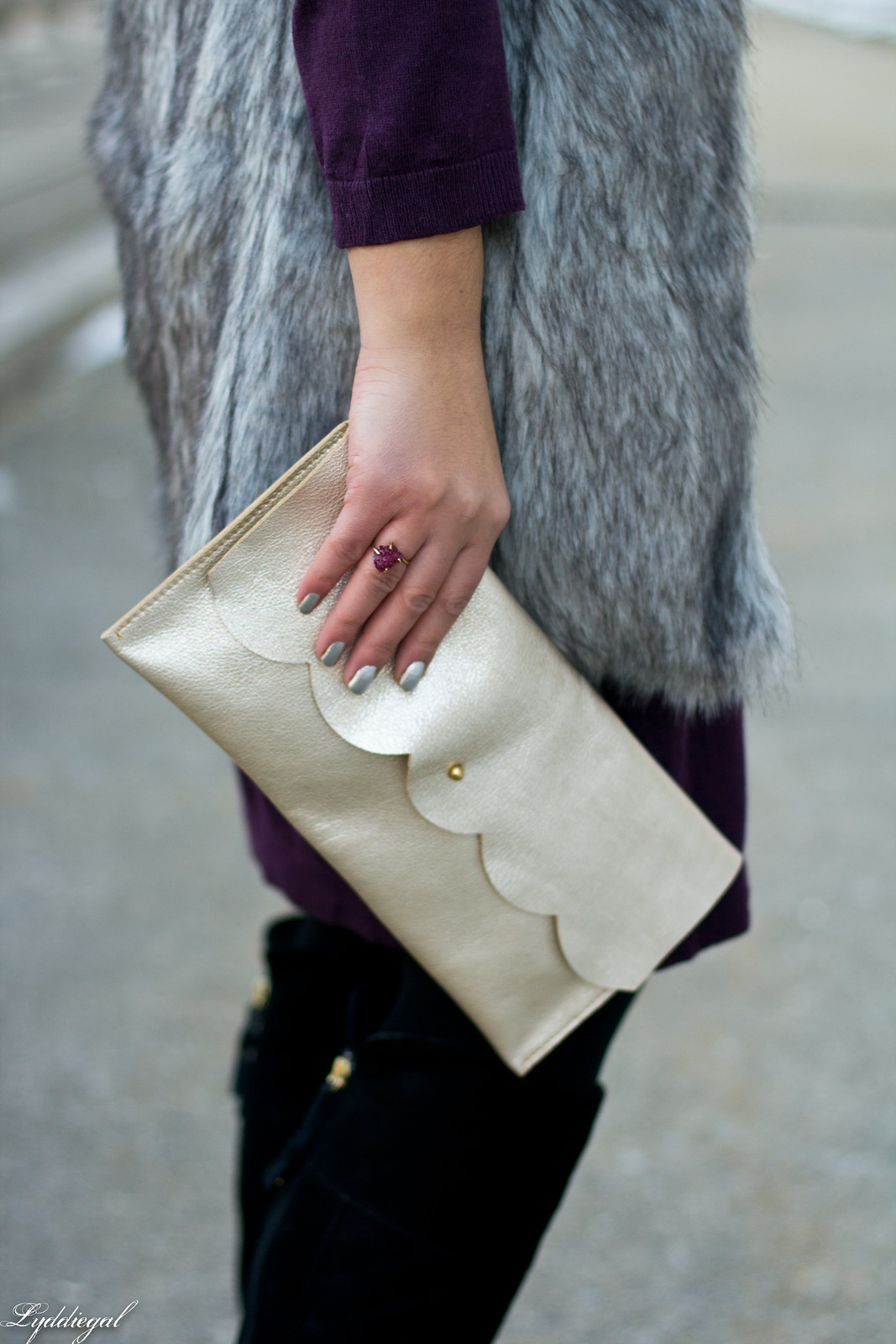 Swap Burgundy Sweater Dress, fur vest, matine clutch-5.jpg