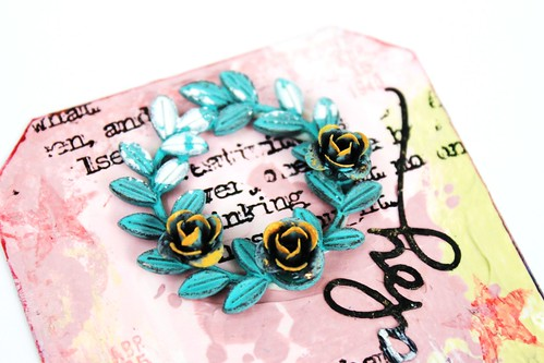 Meihsia Liu Simply Paper Crafts Mixed Media tag Welcome Baby Simon Says Stamp  Monday Challenge 2