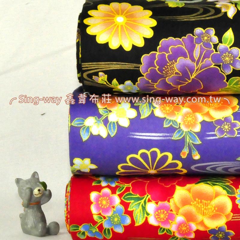 燙金波紋水綻花 日式復古 精梳棉床品床單布料 節慶佈置 紅包袋 CA490350