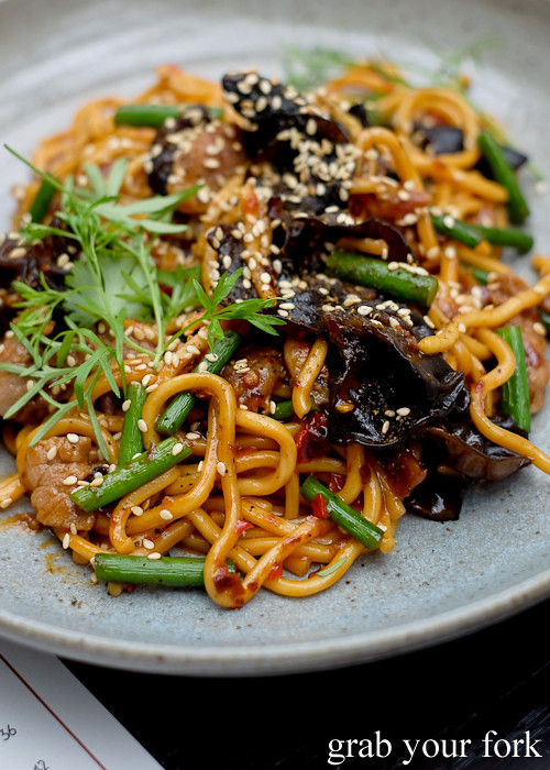 Hokkien noodles wih Sichuan pork slices and black fungi at Queen Chow by Merivale in Enmore
