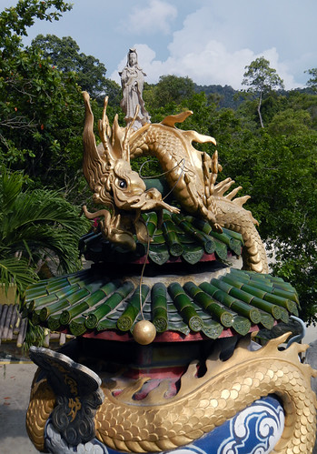 Statue of a Dragon protecting a goddess in Pankor, Malaysia