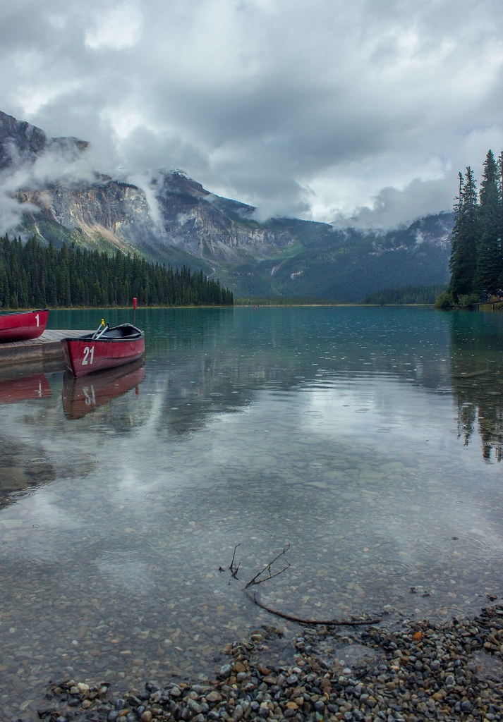 Canoes on Emerald Lake, Yoho National Park