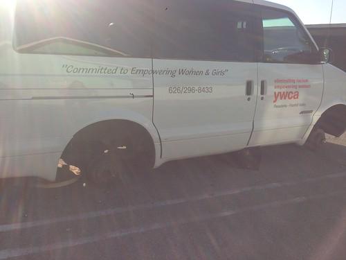 Van #1 wheels & tires stolen