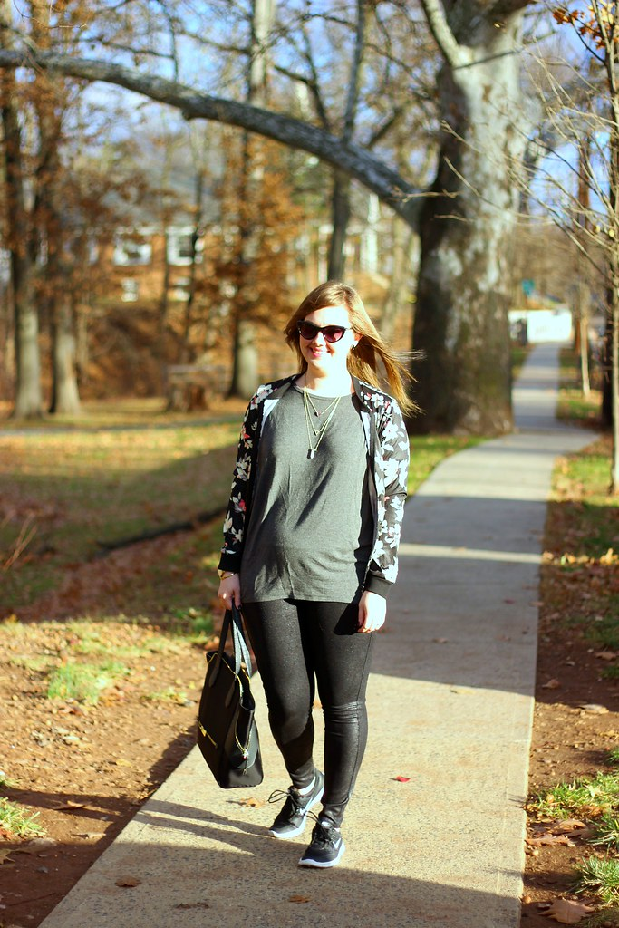Glam sneakers, faux leather leggings, and floral bomber 3