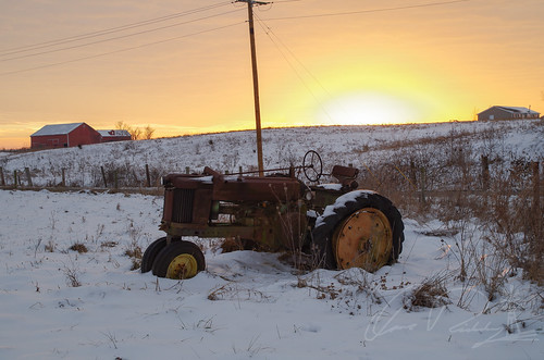 John Deere at Sunset