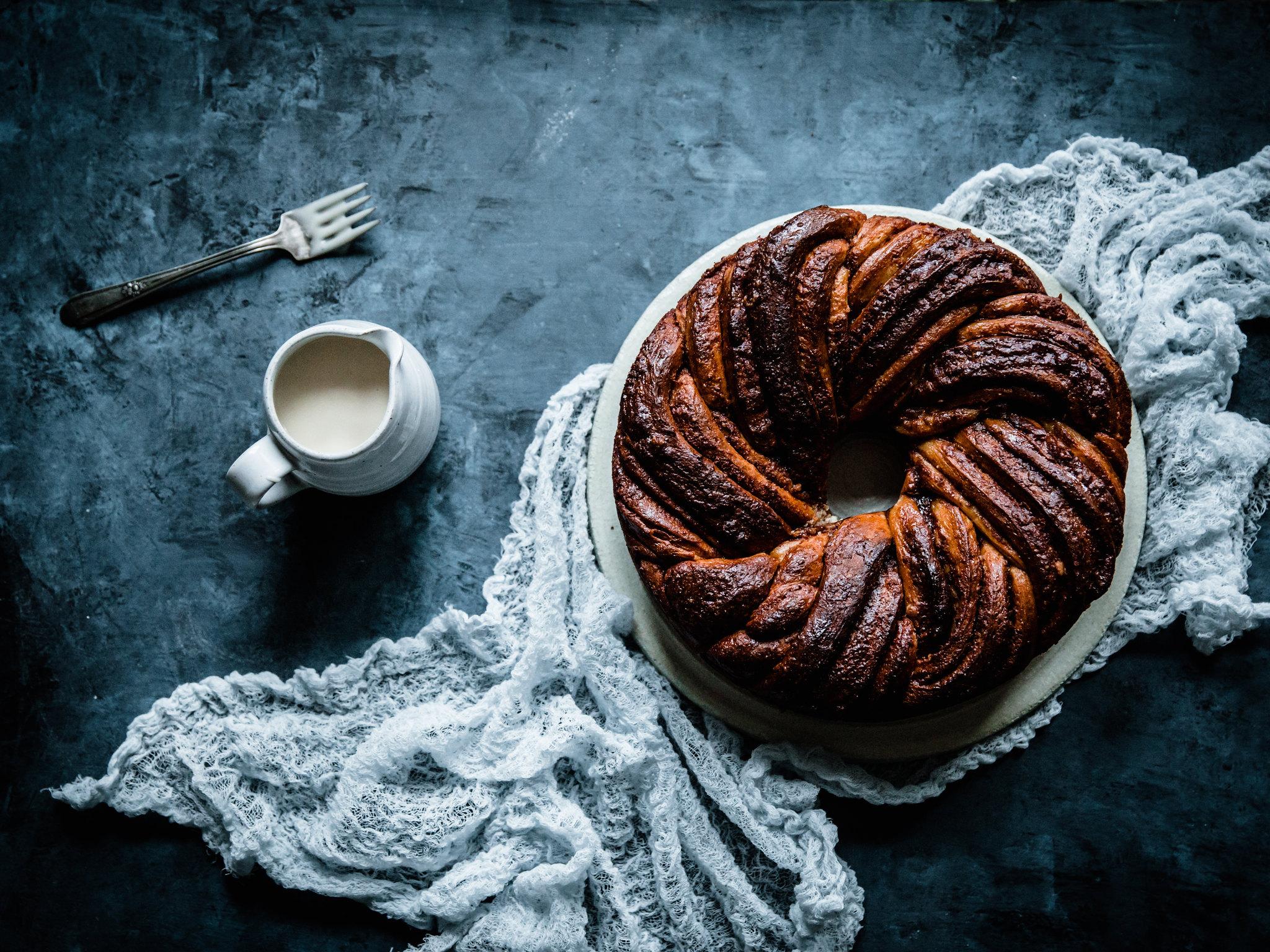 Cinnamon Babka Ring with Rum-Mascarpone Glaze