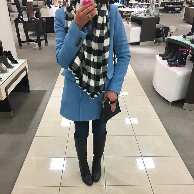J.Crew Double-breasted coat in double-cloth wool in cornflower blue, size 00 regular