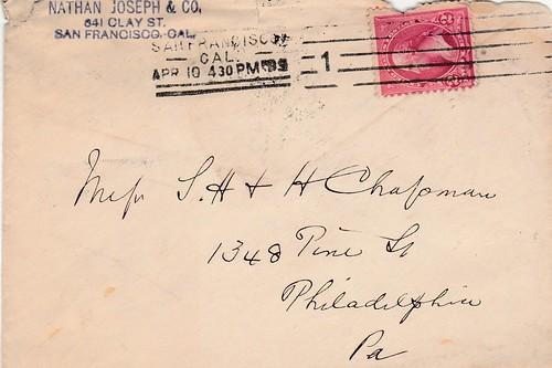1899 April Cover Nathan Joseph to Chapmans