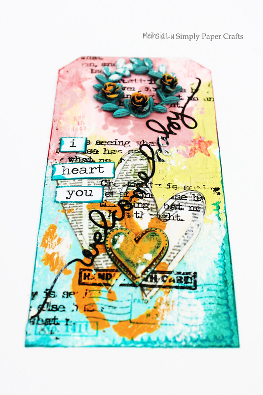 Meihsia Liu Simply Paper Crafts Mixed Media tag Welcome Baby Simon Says Stamp  Monday Challenge 1