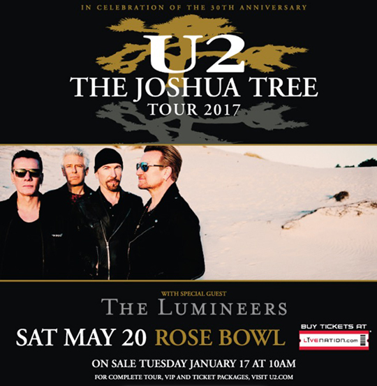 Promo graphic for Joshua Tree Tour 2017 at the Rose Bowl