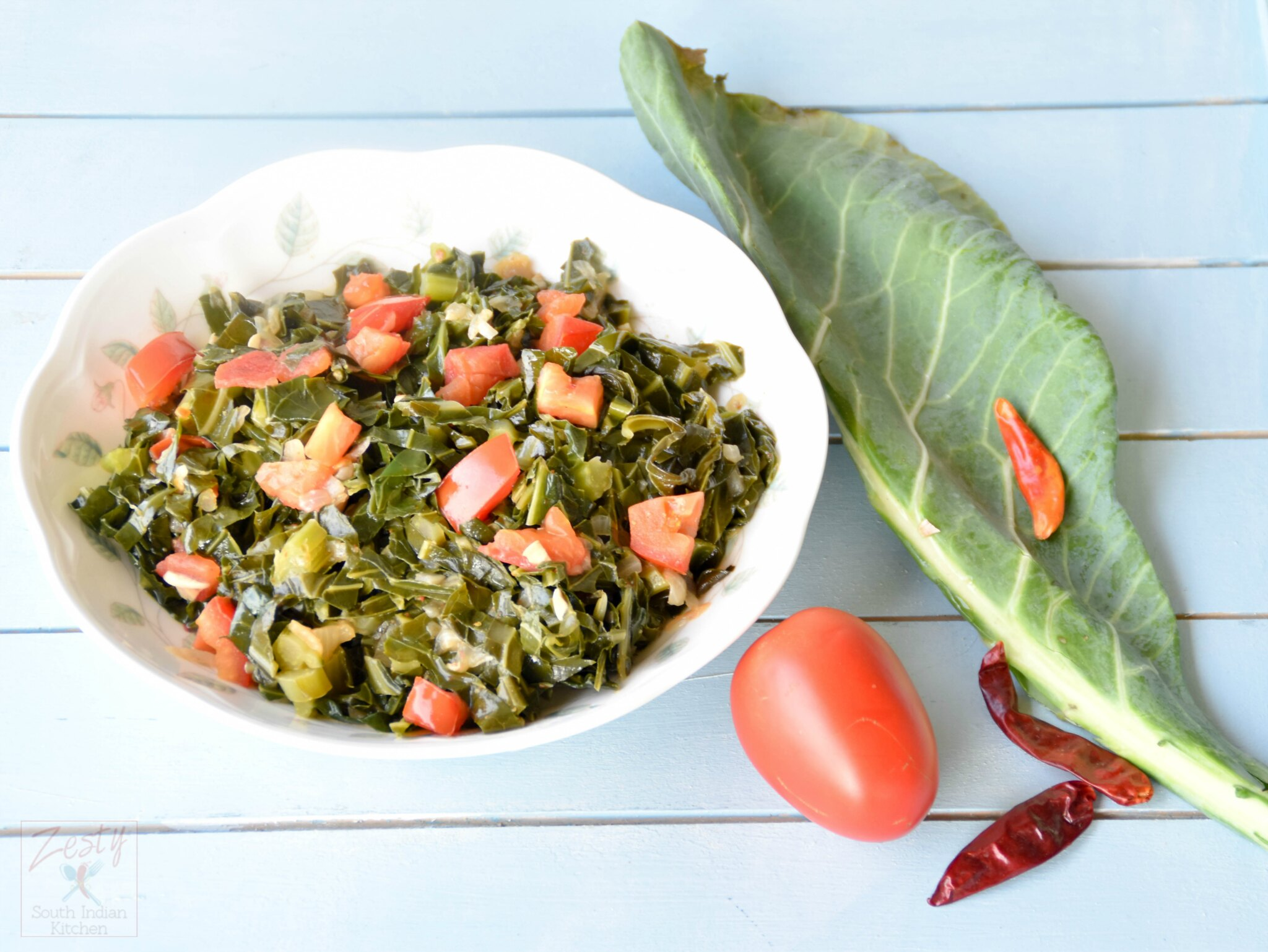 Southern style vegetarian collard greens zesty south indian kitchen i came to know about this southern tradition of black eyed peas and collard greens on the first day of new year to bring good luck only after moving to forumfinder Choice Image