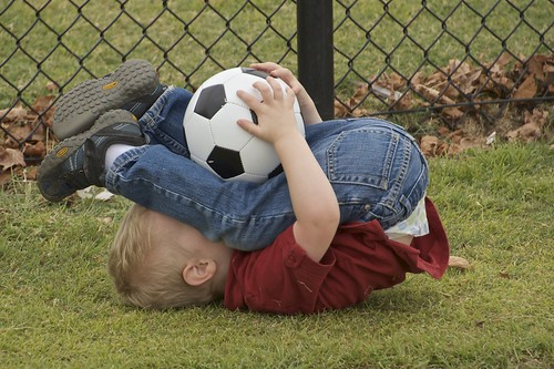 how the two year old plays soccer