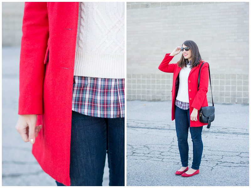 red coat + white cable sweater + flannel plaid shirt + black tassel purse + red ballet flats | Style On Target blog